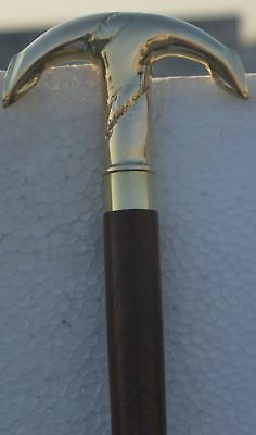 "2 fold Brass Handle Victorian Design Wooden Walking Cane 37"" Stick Vintage/"