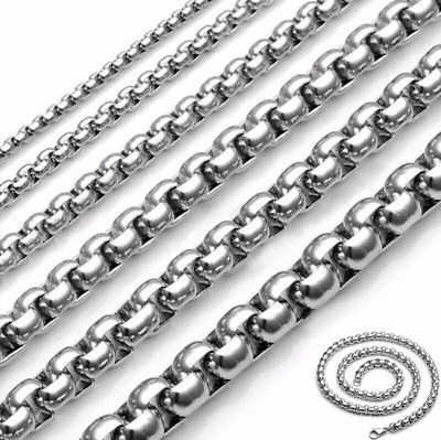 2/3/4mm Men's Stainless Steel Necklace Round Box Chain Link Silver 18-26'' Gift