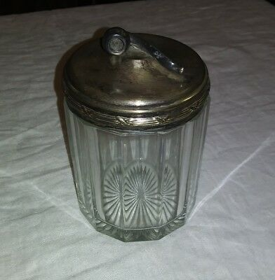 ANTIQUE APOLLO SILVER CO TOBACCO JAR with Pipe on Lid