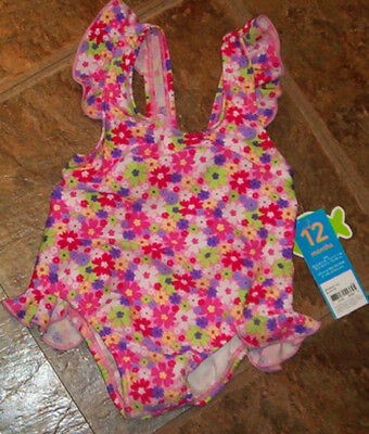 NWT Carter's FLOWER Print Ruffled Swimsuit Bathing Suit 1PC 12 Months Baby Girl