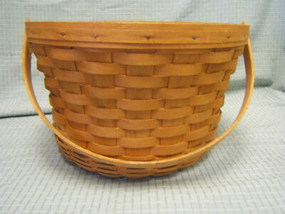 "Longaberger Signed 1990 Large Round Basket w/ Swinging Handle 8-1/2"" tall VGC"