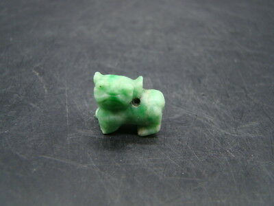 Chinese 1910's nice carved nature green color jadeite pendant (dog) s9297