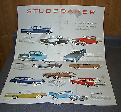1957 STUDEBAKER Dealer Brochure / Fold Open POSTER President Hawk Champion