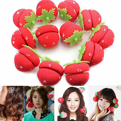 12Pcs Strawberry Balls Hair Care Soft Sponge Rollers Curlers Cute DIY Tool New