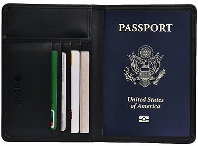 RFID Blocking Leather Passport Holder Cover & Travel Wallet ID Card Case Black