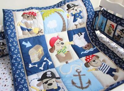 Set of 4pcs Pirate Puppy Baby Crib Cot Quilt Bumper Sheet Dust Ruffle Bedding @@