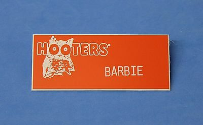 HOOTERS RESTAURANT GIRL BARBIE ORANGE NAME TAG / PIN - Waitress Pin