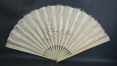 """25"""" Victorian Carved Bovine Bone Feathers Hand Painted Daisy Flowers Folding Fan"""