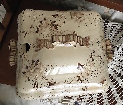 AESTHETIC Antique BROWN TRANSFERWARE Ironstone COVERED TUREEN Assouma Pattern