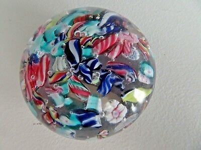 Antique Boston & Sandwich Art Glass SCRAMBLE Paperweight Millefiori Cane End Day
