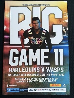 NEW BIG GAME 11 2018 HARLEQUINS v WASPS Rugby Union Programme £5 2912/2018