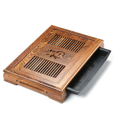 blessing word Chinese Wenge tea tray with plastic drawer solid wood tea table