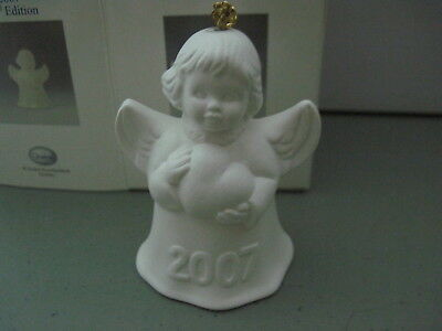 2007 Goebel ANGEL BELL ORNAMENT White Bisque with Heart in Box