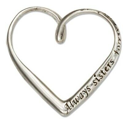 """Genuine .925 Sterling Silver /""""Always Sisters Forever Friend/"""" Heart Message Charm"""