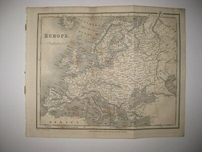 Vintage Antique 1827 Europe Dated Map Germany Russia Poland Prussia Ireland Fine