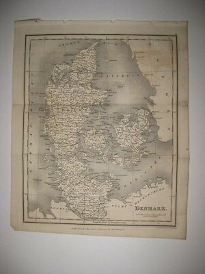 Vintage Antique 1827 Dated Denmark Dated Map Superb Condition Rare Fine Nr