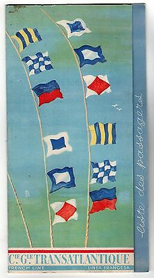 1936 FRENCH LINE Passenger List SS CHAMPLAIN West Indies CRUISE SHIP Christmas