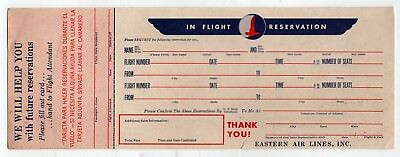 1950s EASTERN AIR LINES Airline IN FLIGHT RESERVATION CARD EAL EA Aviation PLANE
