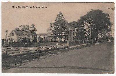 WEST DENNIS MASSACHUSETTS PC Postcard CAPE COD Main Street MANSION Residence MA