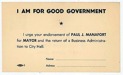 DONALD TRUMP CAMPAIGN MANAGER PAUL MANAFORT Father Political Postcard 1960s CT