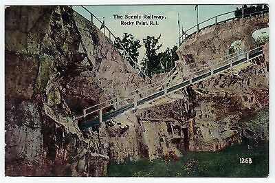1912 ROCKY POINT AMUSEMENT PARK PC Postcard SCENIC RAILWAY Railroad WARWICK RI