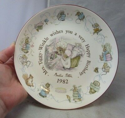 1982 Wedgwood Beatrice Potter Happy Birthday plate. Mrs. Tiggy Winkle