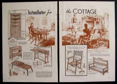 1936 Cottage Style /Camp/Cabin/ Furniture HowTo build PLANS Chair/Table/Cupboard