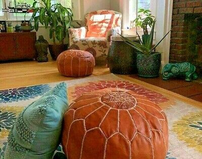 Stupendous Moroccan Leather Pouf Ottoman With Embroidery In Marrakech Short Links Chair Design For Home Short Linksinfo