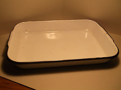 "Antique Vintage White Enamel Tray Farm Butcher Kitchen 12"" x 17"" Deep"
