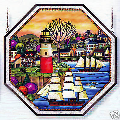 """Harbor Village * Ships Lighthouse Sea Shore Ship 22"""" Octagon Stained Glass"""