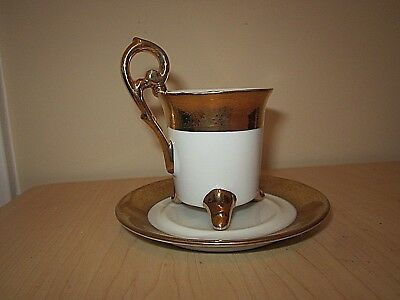 KPM Footed Demitasse Tea Cup & Saucer Gold Gilt Porcelain Gold and White- Mint