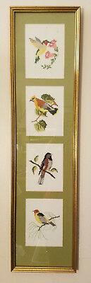 """Song Birds Finished Needlepoint Framed Wall Art Picture 34"""" x 9"""""""