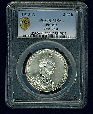 German States - Prussia  1913-A  3 Mark Silver Coin,  Pcgs Certified Ms64