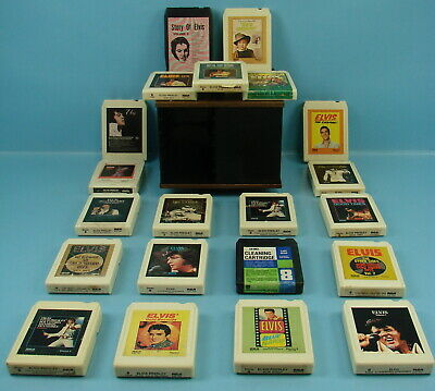 Vintage Lot of 21 Elvis RCA Stereo 8 Tracks & Swivel Plastic Moving Display Case