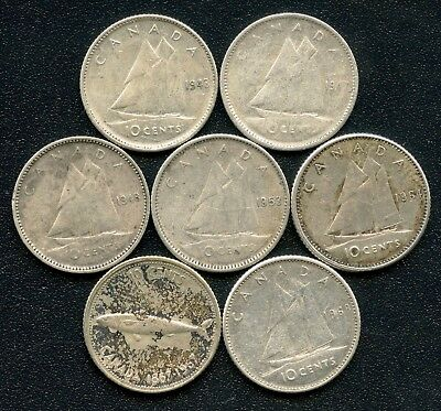 7 Canada Silver 10 Cent Coins 1943 1947 Maple Leaf 1948 1953 1964 1967 & 1968