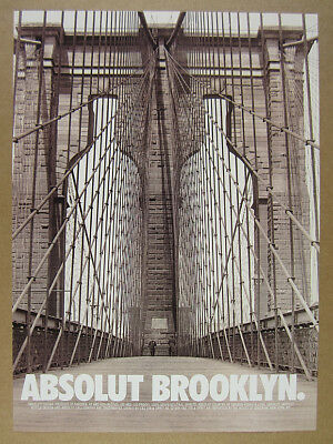 1998 Absolut BROOKLYN bridge tower arch walkway photo vintage print Ad