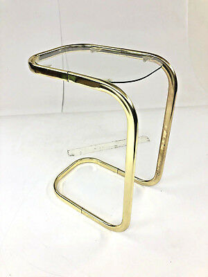 Vintage GOLD SIDE TABLE Cantilever Glass Top cocktail accent hollywood regency