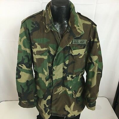 2df00fc039f24 Vtg 80's Military M-65 US ARMY Cold Weather CAMOUFLAGE Field Coat CAMO  Jacket M