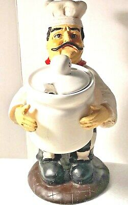 Decorative  Pizza Chef Figurine  Holding A Parmesan  Cheese Jar W/ Spoon