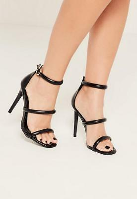1aff715424 MISSGUIDED Black Rounded Three Strap Barely There Heels