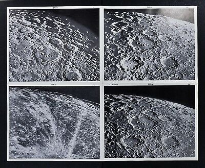 1960 Photographic Lunar Moon Map - 4 Photo Set - Field Clavius D8 - Craters