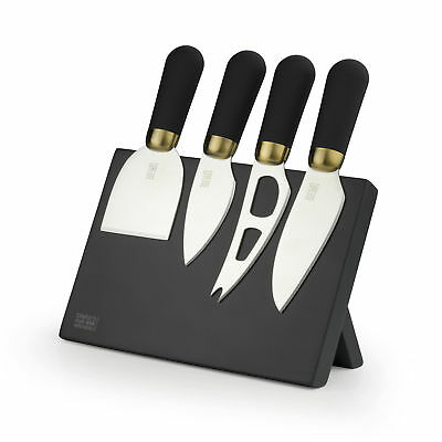 Taylors Eye Witness 4 Piece Brass Black Cheese Knife Set & Magnetic Stand