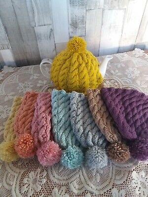 Cable handmade knitted tea cosy .. vintage pretty colours for medium teapot
