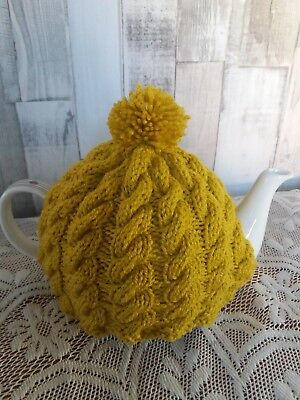 Hand made cable knitted Mustard tea cosy, kitchen teapot accessory