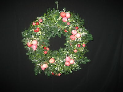 Vintage 1960s Plastic Christmas Wreath with Pink & Red Fruit Decorations