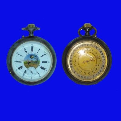 Rare Baume Double Dial Patent Moon Phase  Calendar Lever Pocket Watch 1902