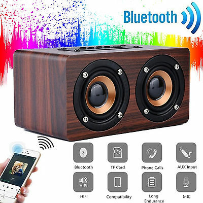 UK Wooden 3D Stereo Bluetooth Dual Speaker Subwoofer FM Radio HiFi Music BROWN