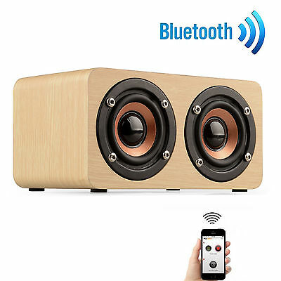 Wooden 3D Stereo Bluetooth Dual Speaker Subwoofer FM Radio HiFi Music AUX /TF UK