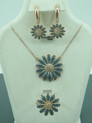 Turkish Handmade Jewelry 925 Sterling Silver Turquoise Stone Ladies' Earring Set