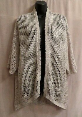 KNOX ROSE BOHO Beige Crochet Open Front Cardigan Sweater